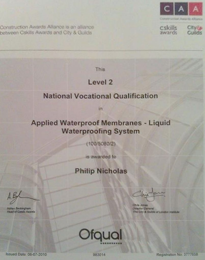 CAA NVQ Applied Waterproof Membrane Liquid Waterproofing System - Level 2.