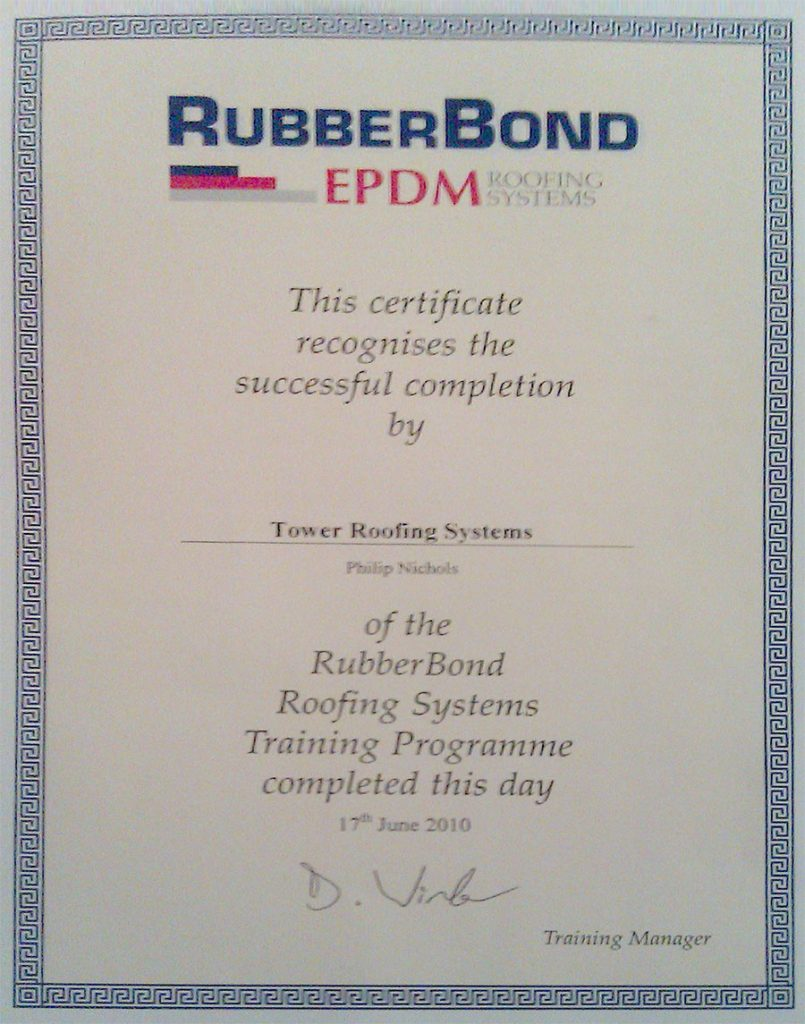 RubberBond EPDM Certificate.