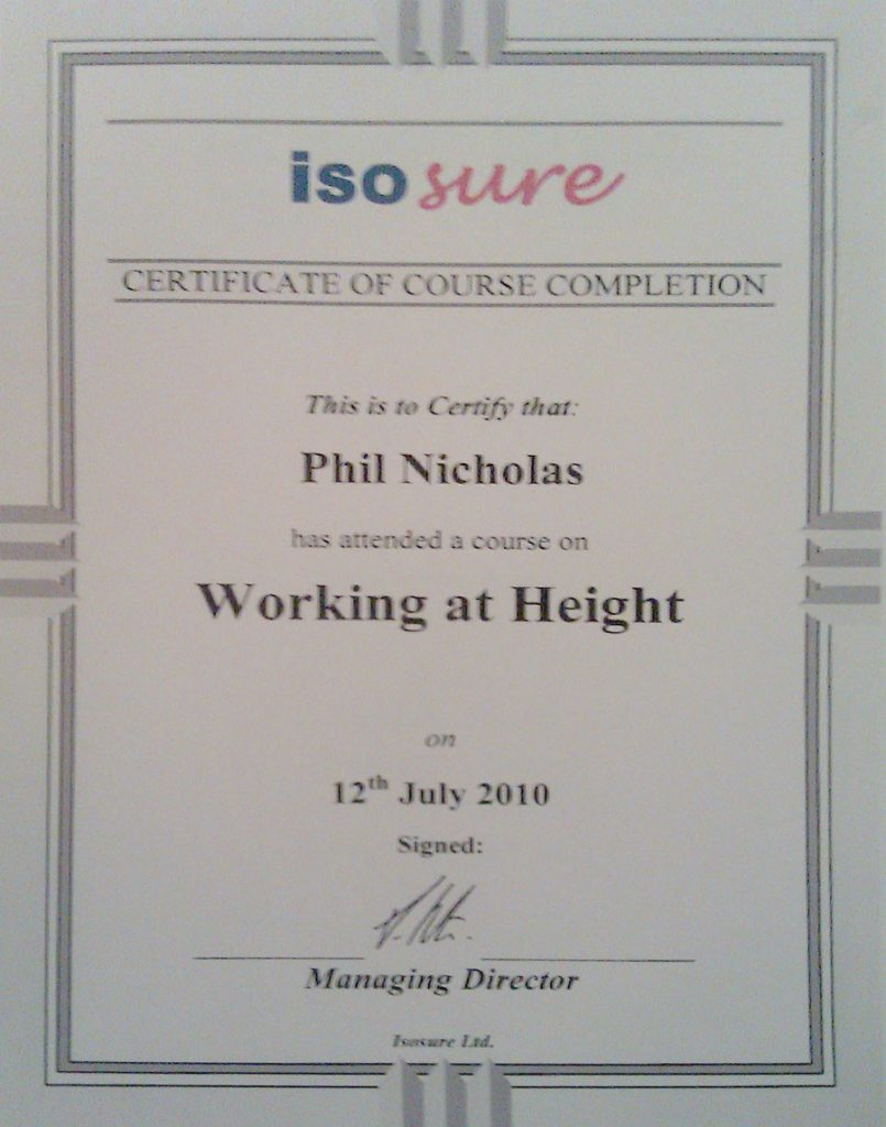 ISO Sure Working at Heights Certificate.